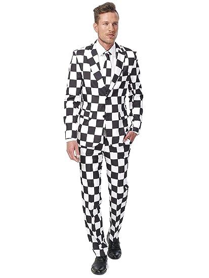 Traje blanco y negro hombre Suitmeister S: Amazon.es ...