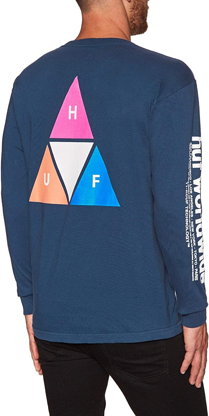HUF Men/'s New Essentials Triple Triangle Long Sleeve Regular Fit T-shirt Black