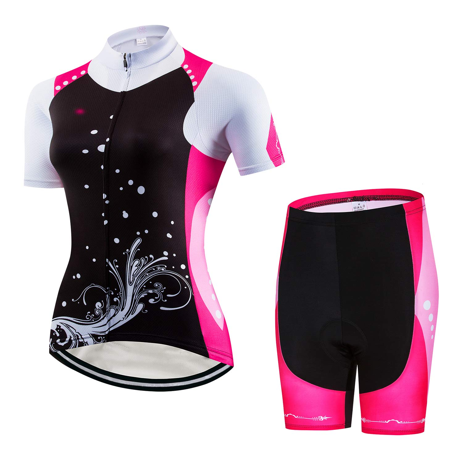 Comfortable,Breathable and Quick Dry Womens Cycling Jersey Set Bike Shirt Tops Shorts Suit