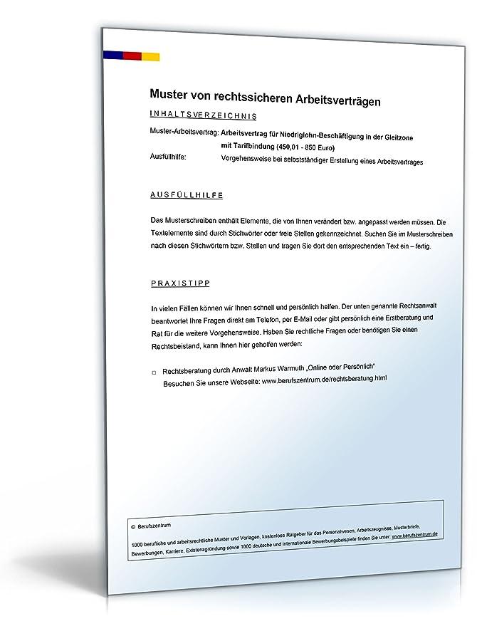 Arbeitsvertrag Gleitzone Mit Tarifbindung Pdf Download Amazonde