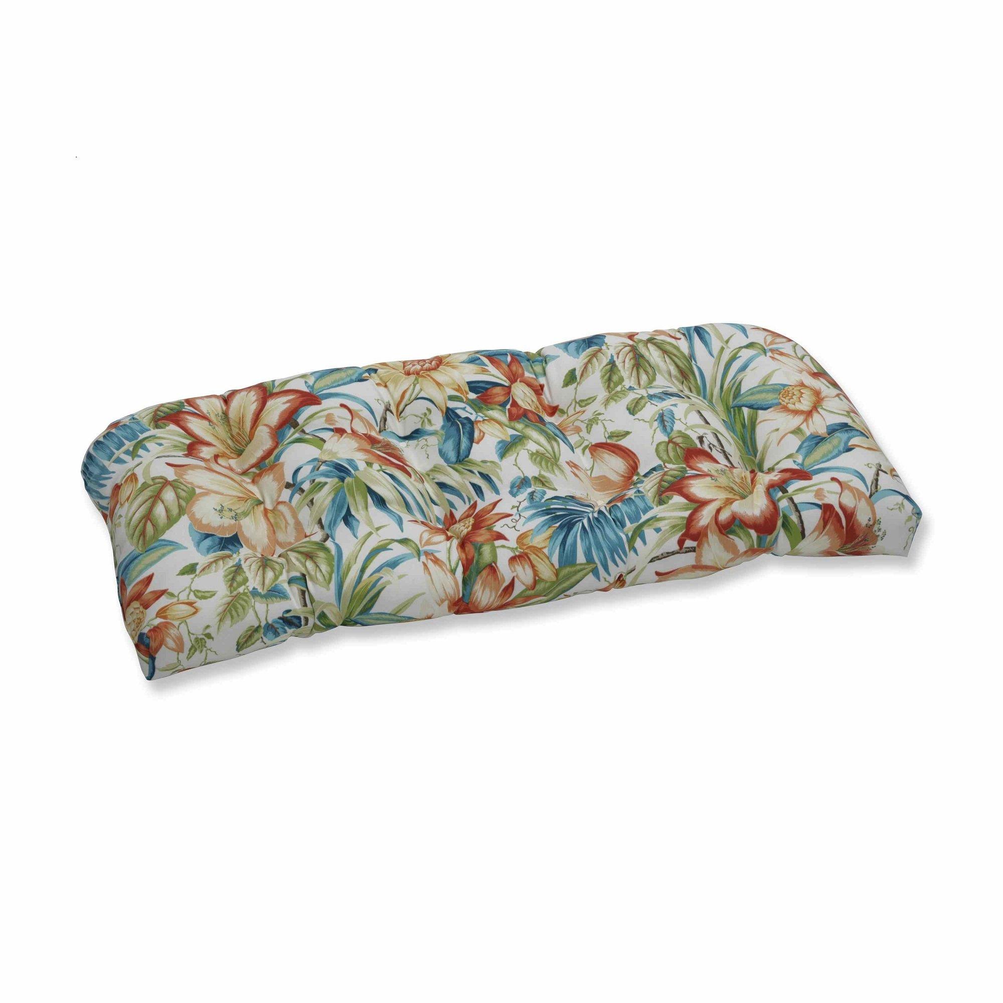 OKSLO Botanical glow tiger lily wicker loveseat cushion