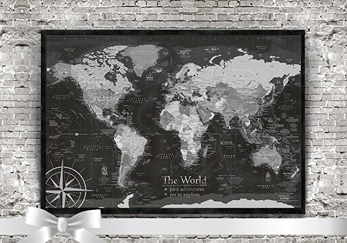 Amazon world push pin map in black and white beautifully world push pin map in black and white beautifully framed use as a wall gumiabroncs Gallery