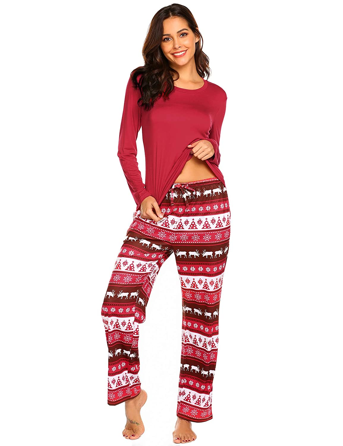 Ekouaer Women s Pajamas Soft Christmas 2 Pieces Top and Pants Sleepwear Pjs  Set at Amazon Women s Clothing store  b31362a7a