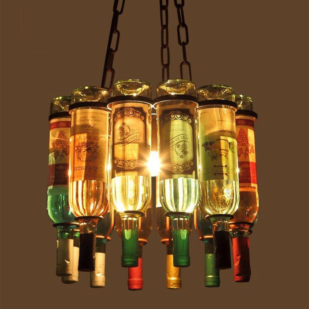 GAOLILI Vintage Rústico Loft Personalidad Creativa Bar Cafetería Vidrio Copa de Vino de Hierro Forjado Lámparas Decorativas Botella Araña Retro Diseño ...