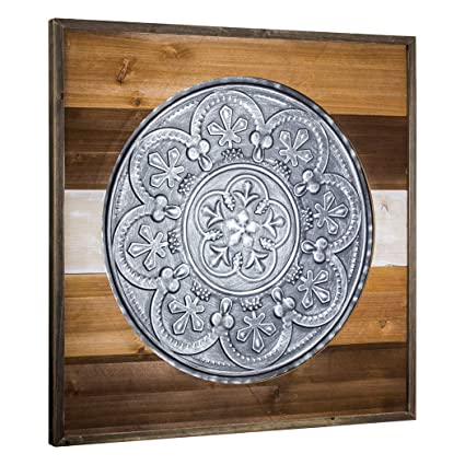 Amazon.com: Crystal Art Framed Metal Silver Medallion Wood Boards ...