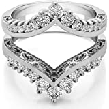 TwoBirch Sterling Silver Filigree Vintage Wedding Ring Guard With Cubic Zirconia (0.98 ct.)