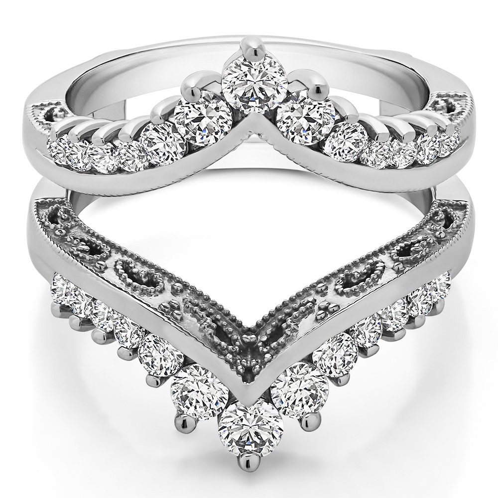 TwoBirch 0.98 ct. Cubic Zirconia Filigree Vintage Wedding Ring Guard in Sterling Silver (0.98 ct. twt.)