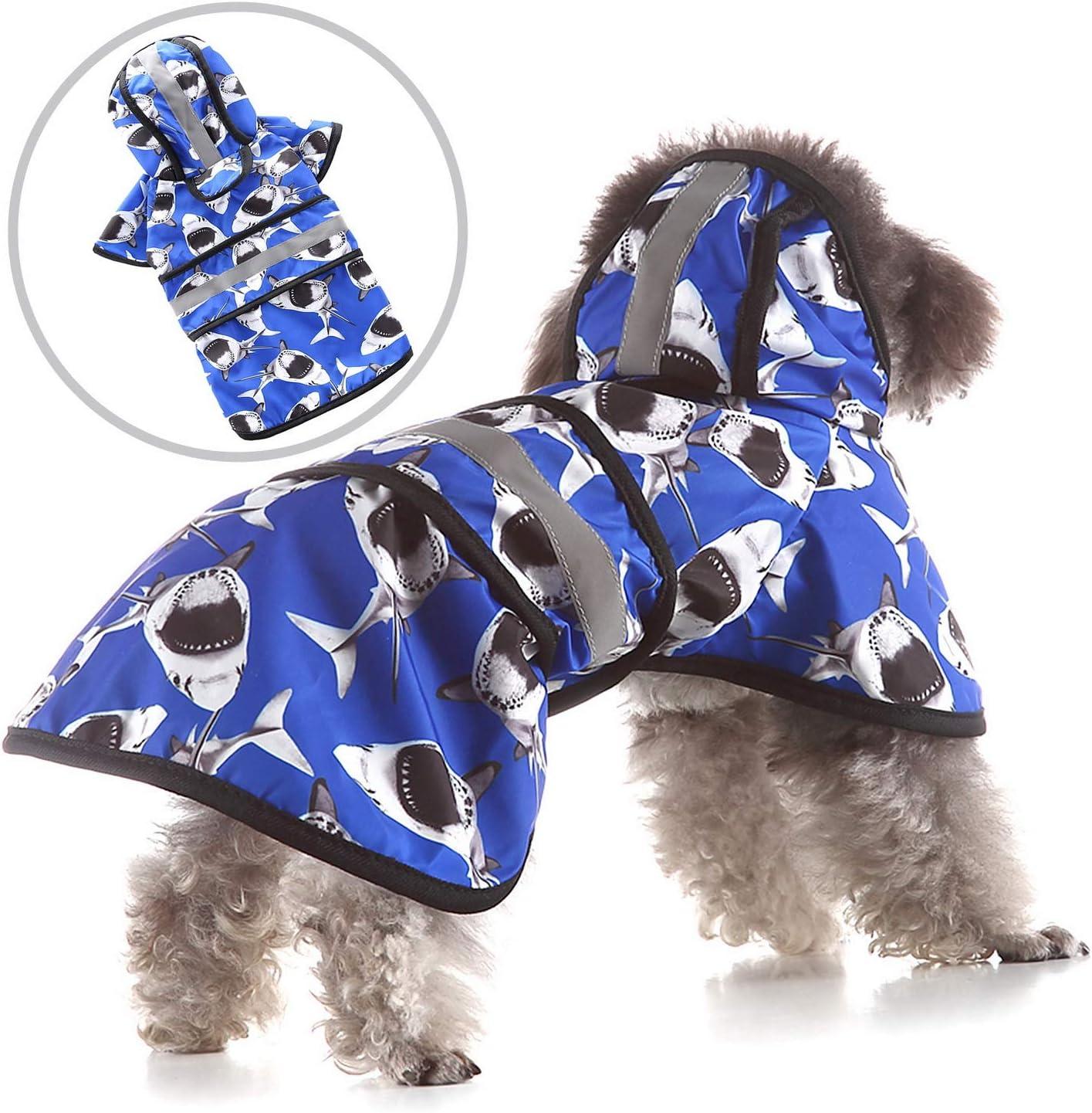 Anzug f/ür kleine bis mittelgro/ße Hunde leichte Regenjacke reflektierend Zunea Wasserdichter Hunderegenmantel mit Kapuze verstellbar Poncho