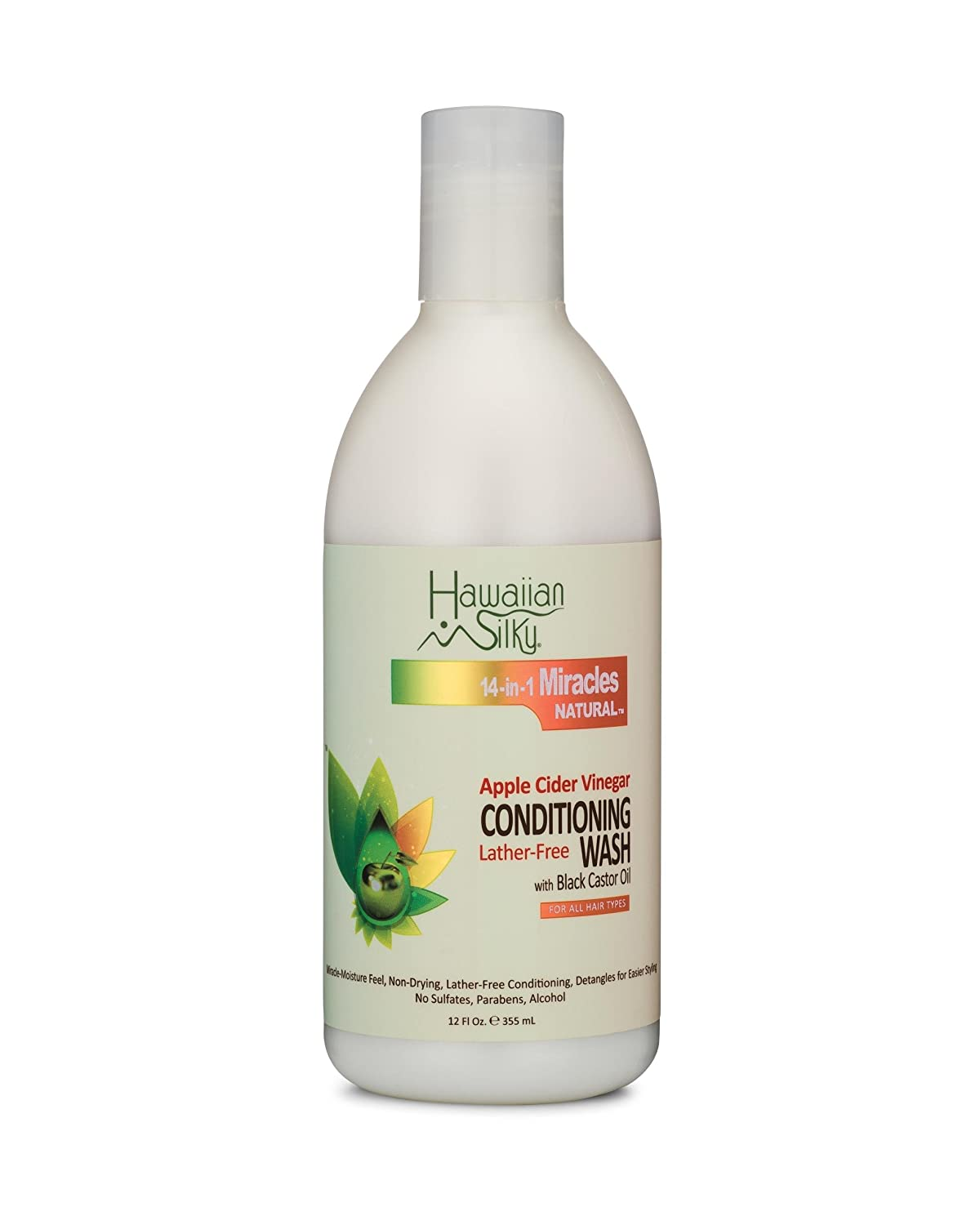 Hawaiian Silky Apple Cider Vinegar Conditioning Wash, 12 fl oz - Lather-Free , with Black Castor Oil Extract, Cleansing Hair Moisturizer Treatment - Good on Men, Women & Kids