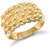 Jewelco London Men's Solid 9ct Yellow Gold 4 Row Keeper Rope Edge Ring