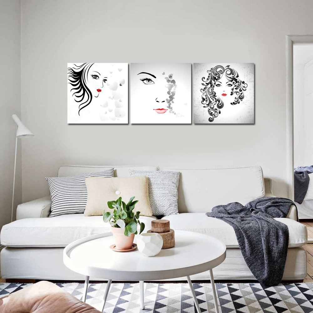 Amazon.com: Sea Charm - 3 Panel Abstract Women Face Canvas Art for Bedroom  Decor Cool Red Lip Poster for Wall Decor Stretched and Framed Canvas Prints:  ...