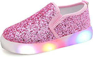 UBELLA Girl's Light Up Sequins Slip On Loafers Flashing LED Casual Shoes Flat Sneakers (Toddler/Little Kid)