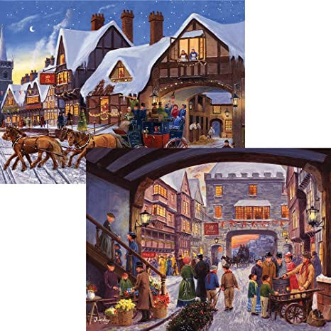 bits and pieces set of two 2 500 piece jigsaw puzzles for adults