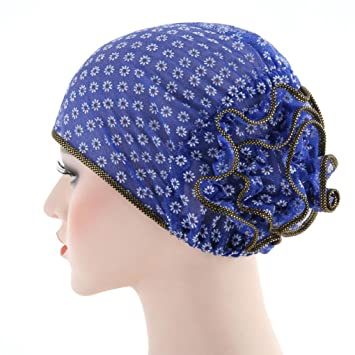 Amazon.com: Botrong Women Stretch Turban Hat Chemo Cap Hair Loss Head Scarf Wrap Cap (Blue): Cell Phones & Accessories