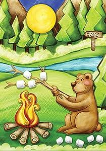 Toland Home Garden Camping Bear 12.5 x 18 Inch Decorative Colorful Funny Outdoors Campfire Smores Garden Flag