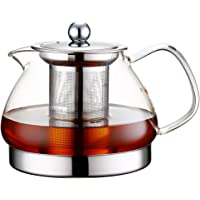 TOYO HOFU Clear Glass High Borosilicate Glass Heat Resistant Teapot with Infuser,Induction Cooker Kettle Pot,800ml