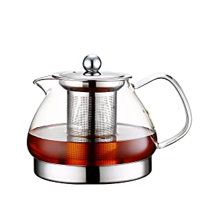 Toyo Hofu Clear Glass Teapot with Stainless Steel Infuser and Lid for Loose Leaf Tea,Induction Teapot,Heat Resistant Borosilicate,Stovetop Safe 800ml /27 Oz