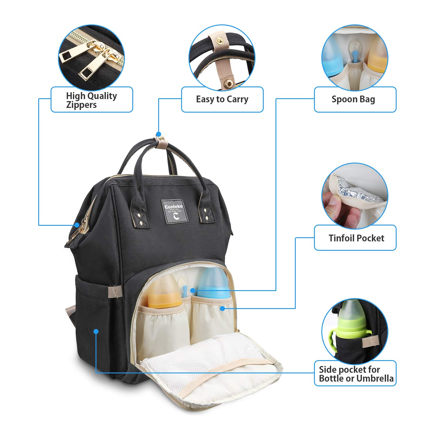A-Grey Black1 Diaper Bag Backpack for Baby Care Multi-Functional Waterproof Travel Backpack Nappy Tote Bags Large Capacity Creative Fashion Package Best Gift for Mom/&Dad