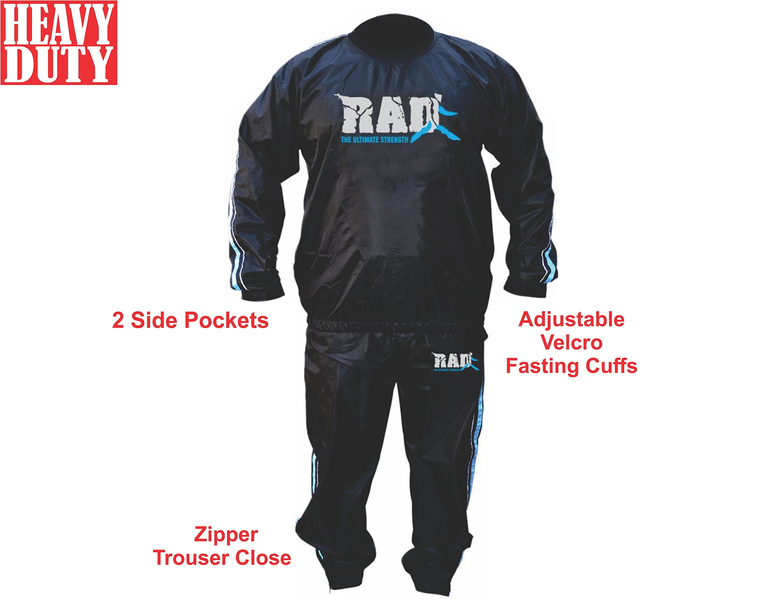 RAD Sweat Suit Sauna Exercise Tracksuit Fitness Weight Loss Slimming Boxing Gym Belt (Blue, 6XL)