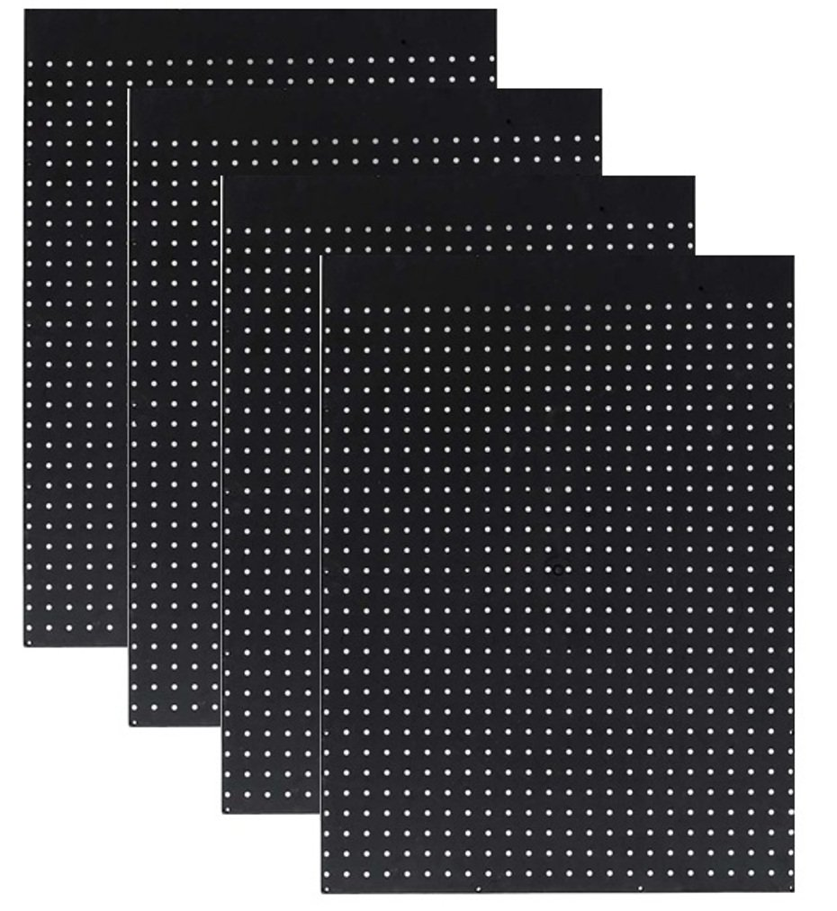 WallPeg Case of 12ea 24''x24'' Black Pegboard Panels - Tuff Polypropelene 1/4'' hole Pegboard AM 204