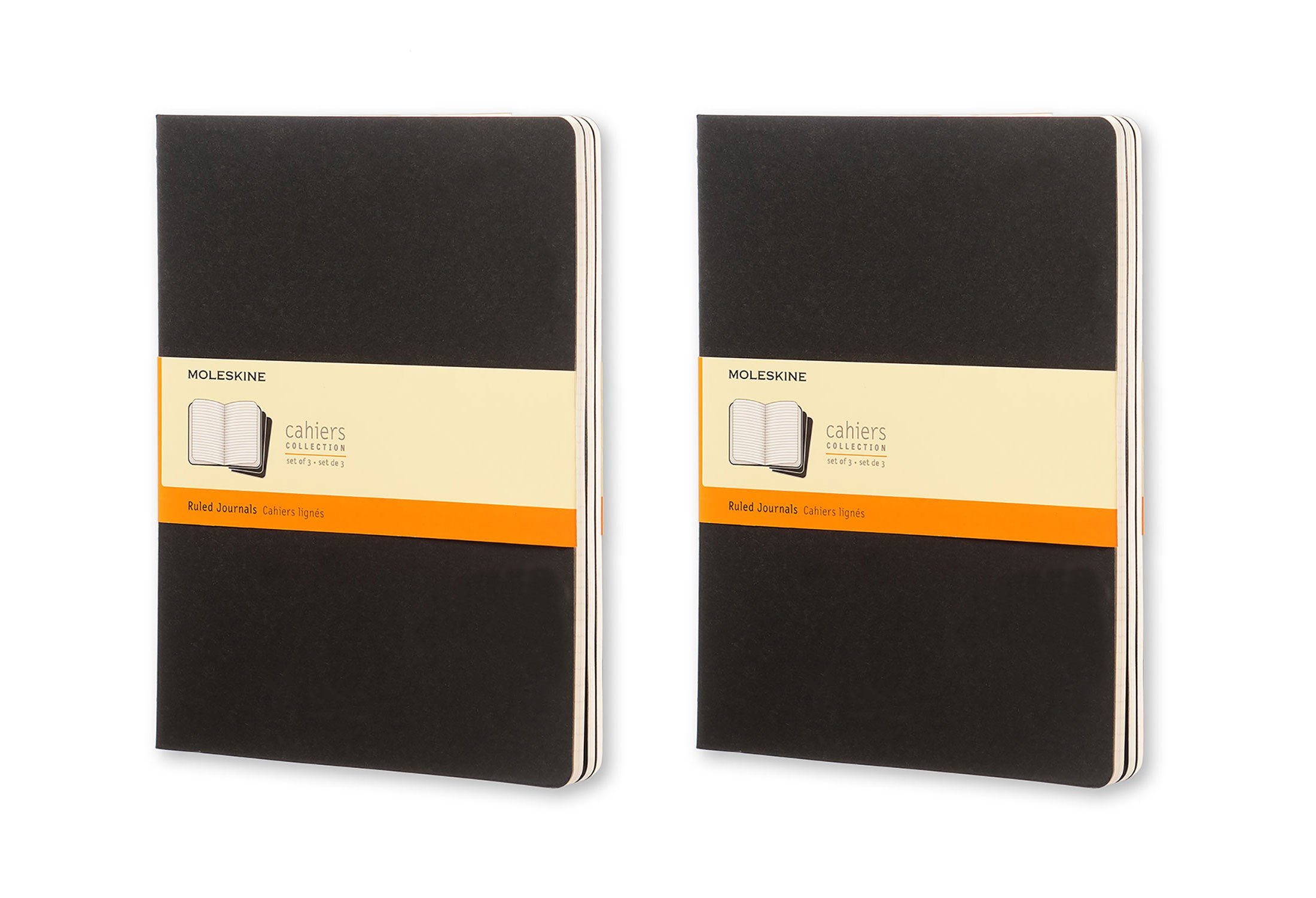 Moleskine Classic Notebook, Set of 6 Cahiers Collection Notebooks, Softcover, 120 Lined Pages Each, Ruled. Each Journal is 7.5 Inches Wide by 10 Inches Tall by 1/8 Inch Thick (Black)