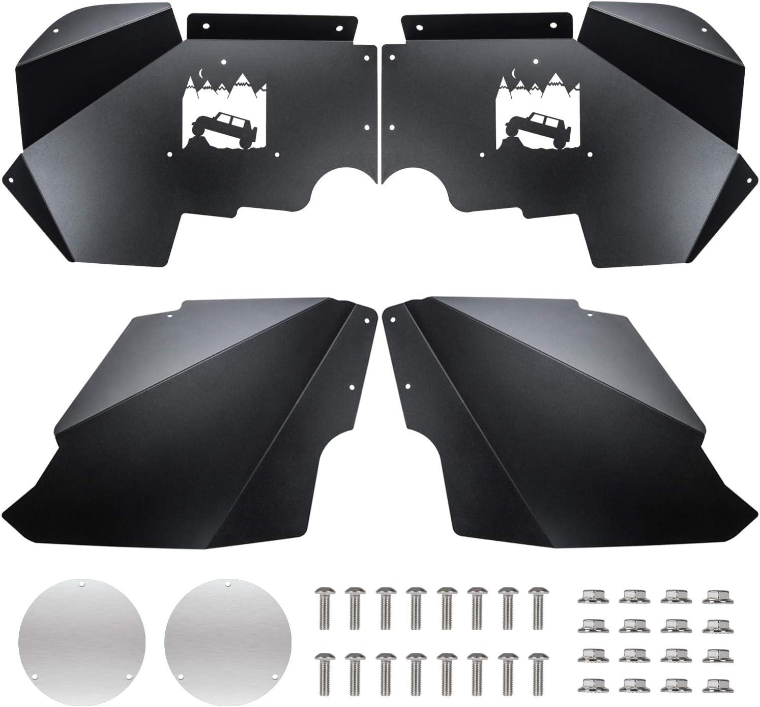 Sunluway for Jeep Wrangler JK Front Inner Fender Liners for 2007-2018 JK JKU 4WD Off-Road Logo Aluminum Lightweight Design Black Splash Guards