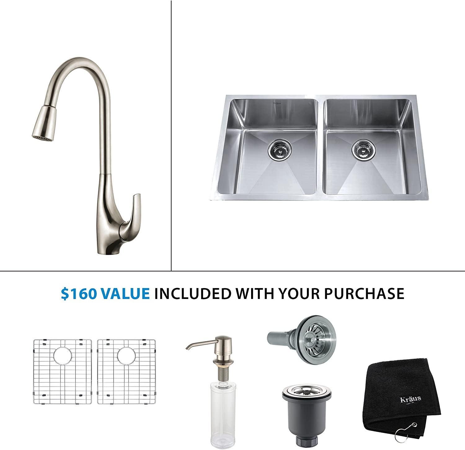 Kraus KHF203-33-KPF1612-KSD30SS 33 Farmhouse Double Bowl Stainless Steel Kitchen Sink with Stainless Steel Finish Kitchen Faucet and Soap Dispenser