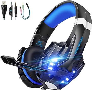 Hunterspider - Auriculares de diadema con micrófono para PC ...