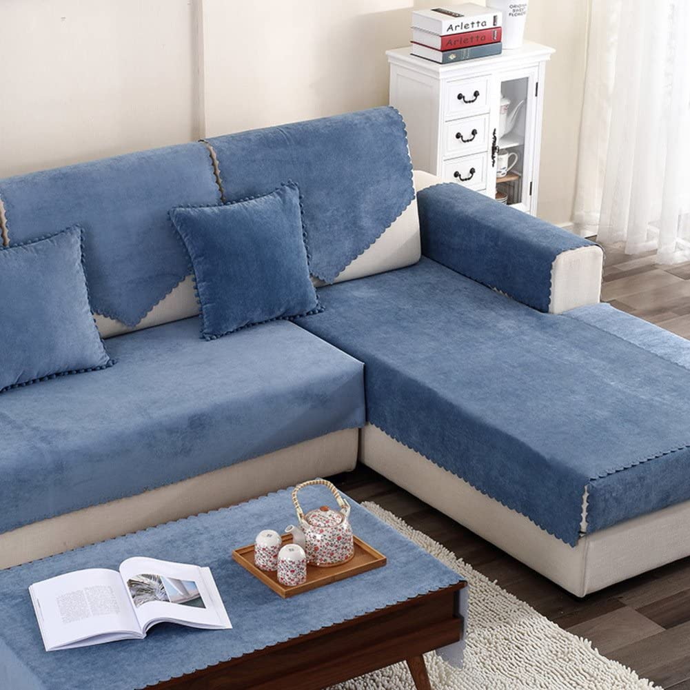 DW&HX Water Resistant Furniture Fresh New Anti-Slip Sofa Couch Protector, Cover, Slipcover, Microsuede Fabric-Dark Blue 35x63inch(90x160cm)