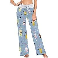 Women's Pajama Pants,Boba Tea Cartoon Drawstring Sleepwear Pants Lounge Yoga Pants Wide Leg Pants for All Seasons