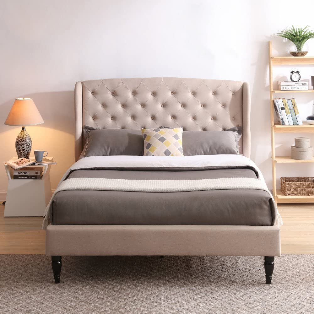 Coventry Upholstered Platform Bed | Headboard and Metal Frame with Wood Slat Support | Linen, Queen