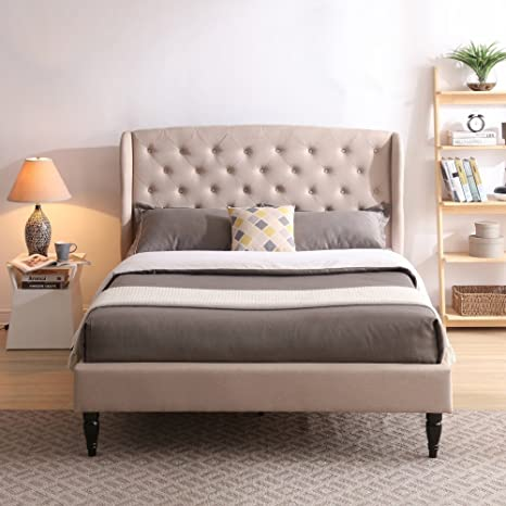 Classic Brands DeCoro Coventry Upholstered Platform Bed | Headboard and Metal Frame with Wood Slat Support | Linen, King