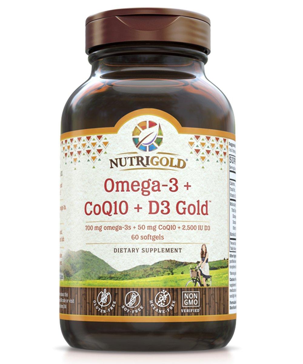 Omega-3 + CoQ10 + Vitamin D3 GOLD - 700 mg of Omega-3 Fish Oil with 2500 IU Vitamin D3 and 50 mg Kaneka Q10 (60 Softgels)