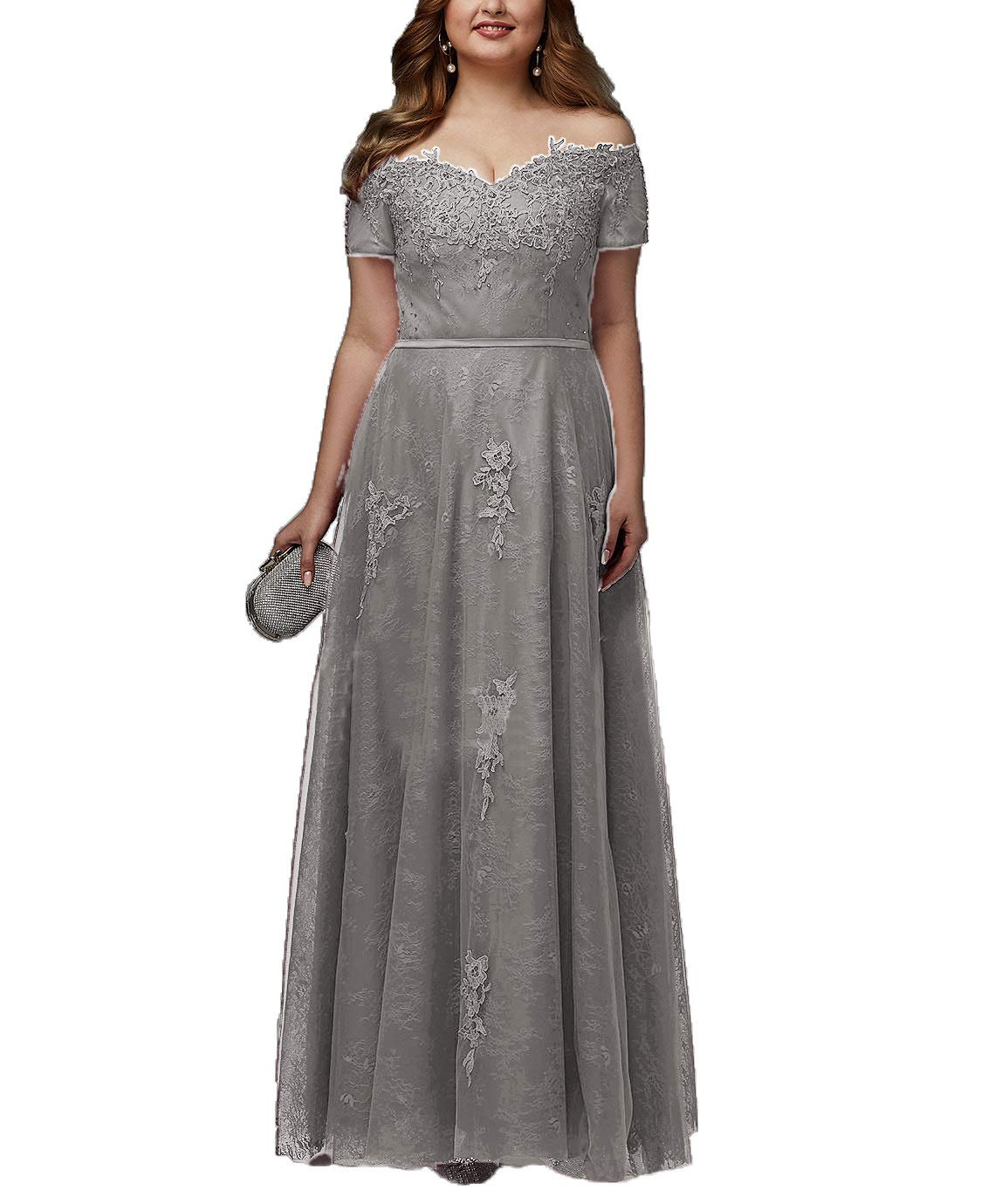 cdf6e4f987f5 Women's Plus Size Off Shoulder Lace Tulle Prom Dress with Sleeves Beading Formal  Evening Gowns Silver Gray