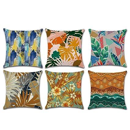 HuifengS Fundas de cojín cuadradas de Lino para sofás o Camas,Planta Tropical, Juego de 6 Fundas de cojín, 45 x 45 cm