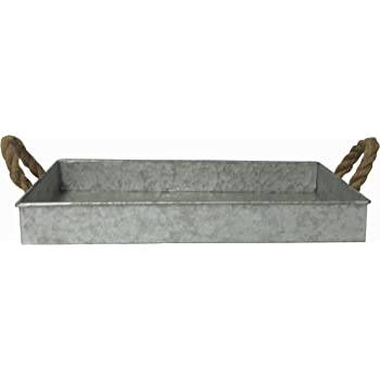Cheungs FP-3744 Galvanized Metal Rectangular Tray with Rope Handle