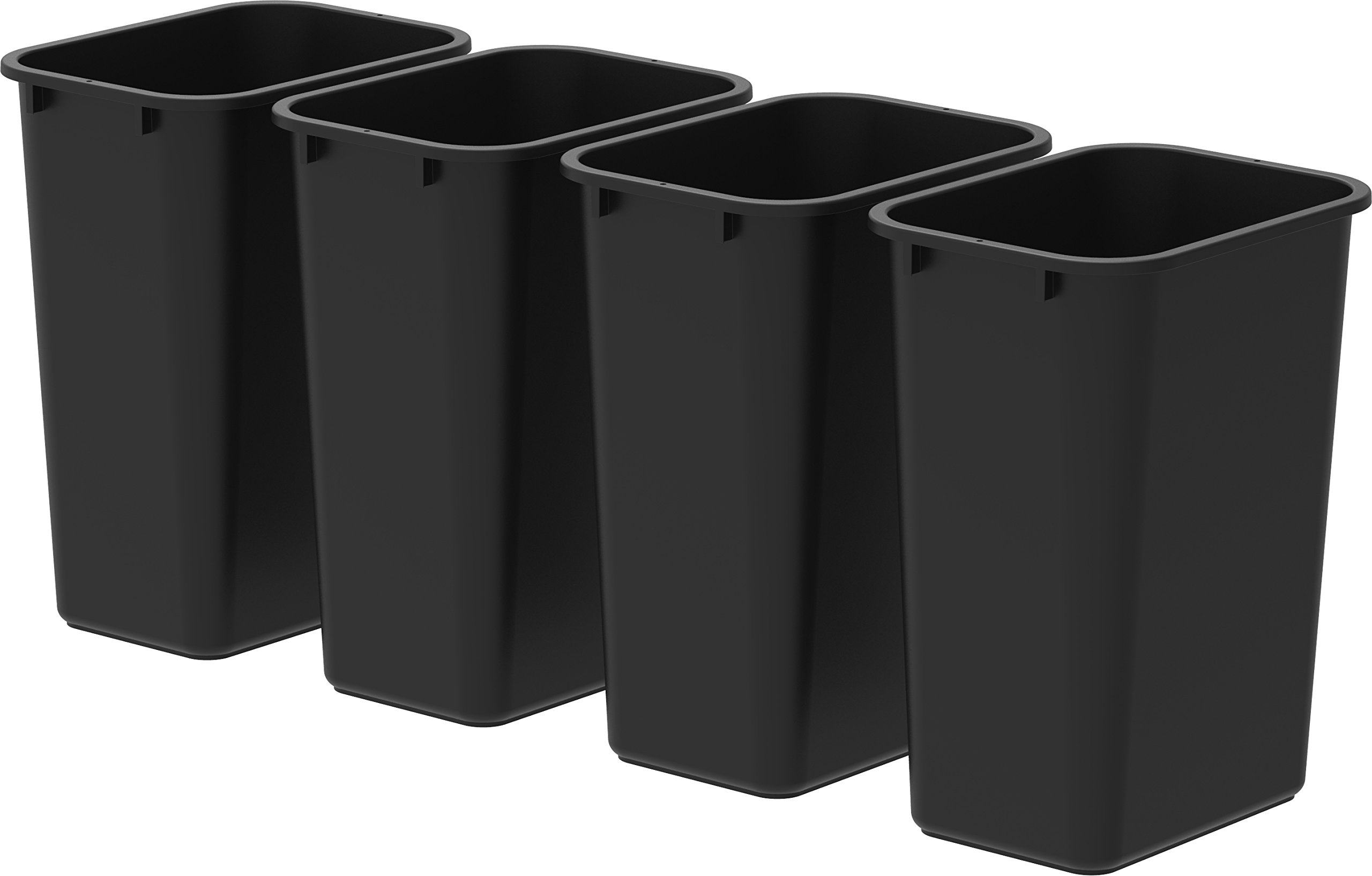 Storex Large/Tall Waste Basket, 15.5 x 11 x 20.75 Inches, Black, Case of 4 (00700U04C)