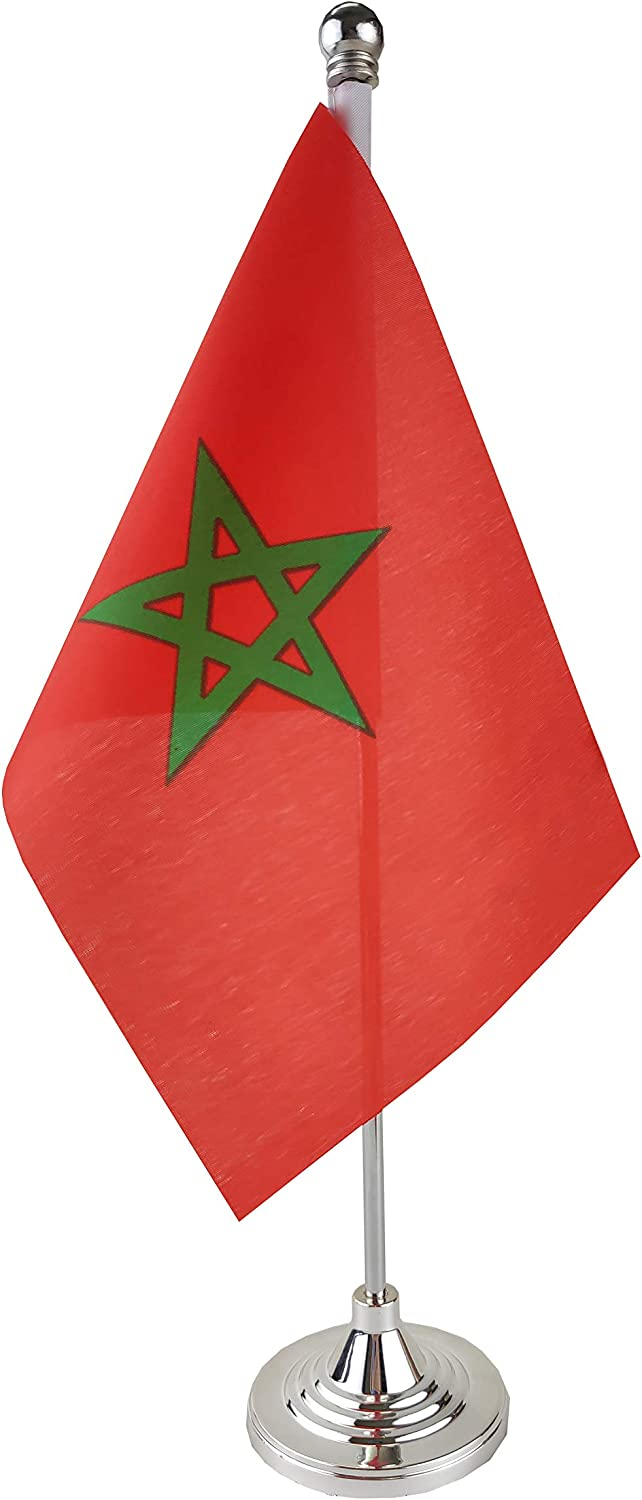 GentleGirl.USA Morocco Table Flag, Stick Small Mini Moroccan Flag Office Table Flag on Stand with Stand Base, International Festival Decoration,Moroccos Theme Party Decoration,Home Desk Decoration