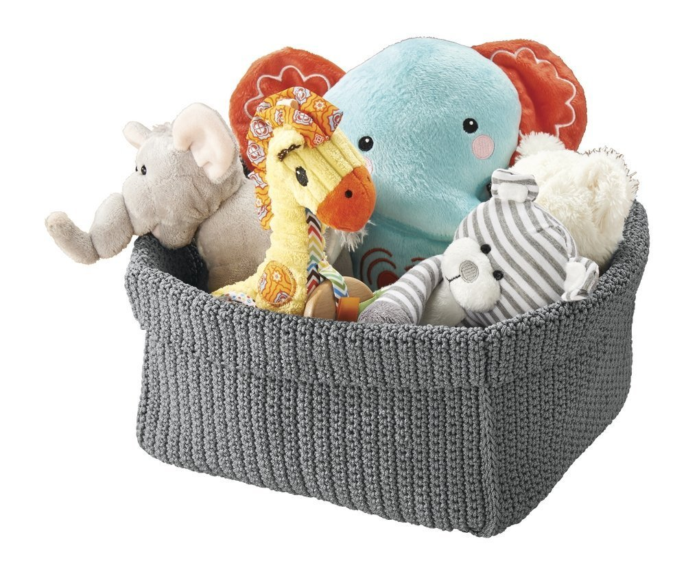 mDesign Knit Baby Nursery Closet Organizer, Bin for Stuffed Animals, Toys, Blankets, Towels - Cube, Gray
