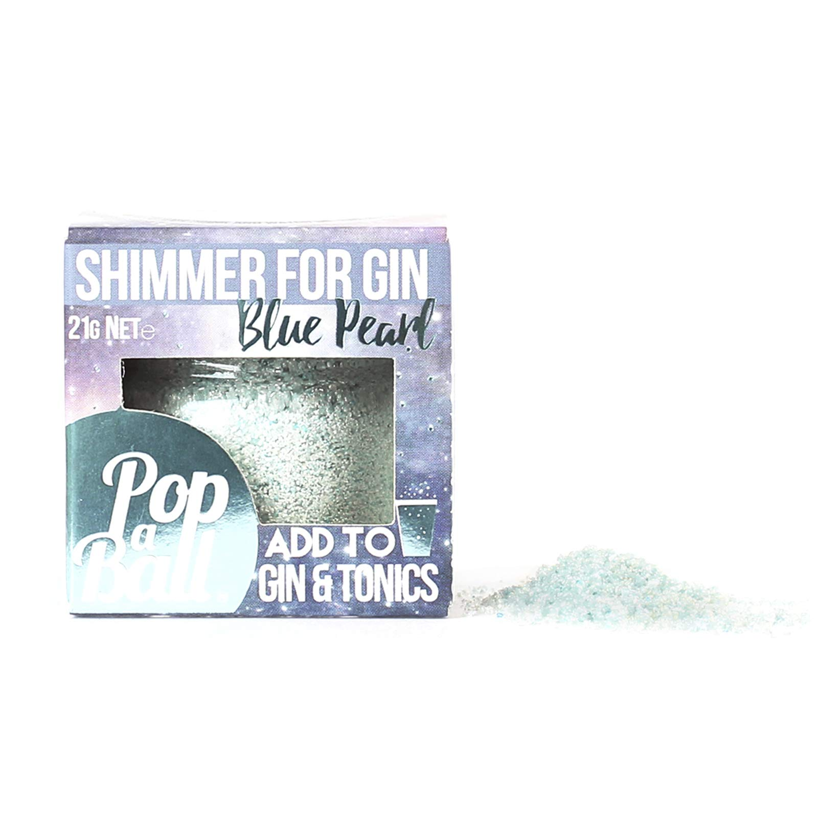 Popaball Drink Shimmer Blue Pearl Blueberry Flavour | 1 x 21 Grams | Prosecco, Gin, Mocktail & Cocktail Making Gifts | Gift Set Ideas for Her, Hampers & Hen Parties