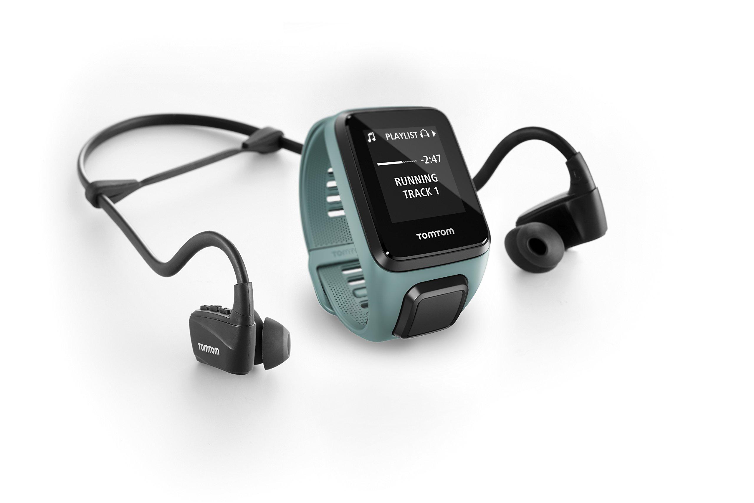TomTom Spark 3 Cardio + Music, GPS Fitness Watch + Heart Rate Monitor + 3GB Music + Bluetooth Headphones (Aqua, Small)