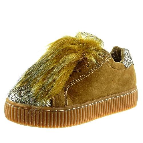 Angkorly - Scarpe da Moda Sneaker bi-Materiale Zeppe Donna Pelliccia Strass  Finitura Cuciture Impunture 4203590502a