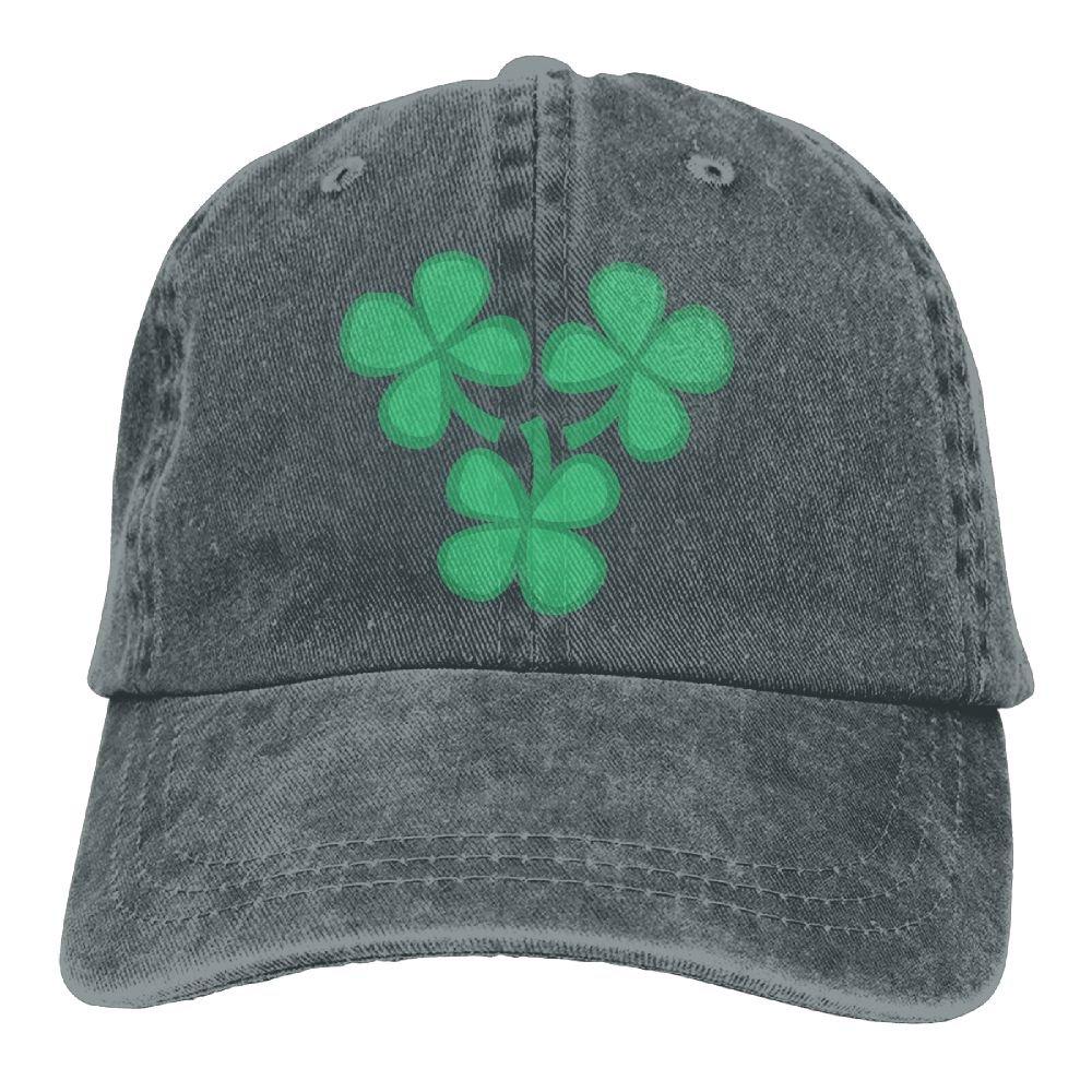 Homlife Denim Baseball Cap Green Clover Pattern Summer Hat Adjustable Cotton Sport Caps