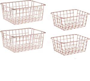SINARDO Wire Storage Basket Organizer Bin Baskets for Kithen Cabinets Freezer Bedroom Bathroom (4, Rose Gold)