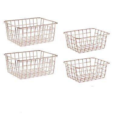 SINARDO Wire Storage Basket Organizer Bin Baskets for Kithen Cabinets Freezer Bedroom Bathroom (4, Rose Gold)
