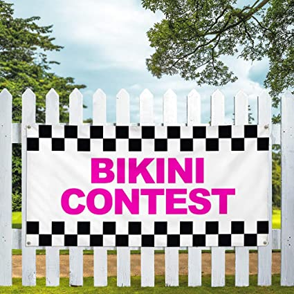 Vinyl Banner Multiple Sizes Bikini Contest Pink Costume /& Fashion Outdoor Weatherproof Industrial Yard Signs 10 Grommets 60x144Inches
