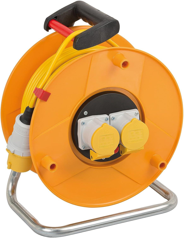 Brennenstuhl 1138873 Garant 2-Socket Reel (50m Length, Ergonomic Handle), Cable Colour: Yellow, 290 mm Dia