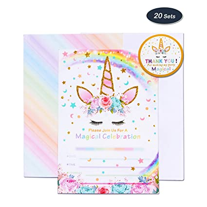 Amztm Magical Unicorn Party Supplies 20 Pieces Invitation Cards With 20 Pieces Envelopes And 24 Pieces Thank You Stickers For Girls Birthday Baby
