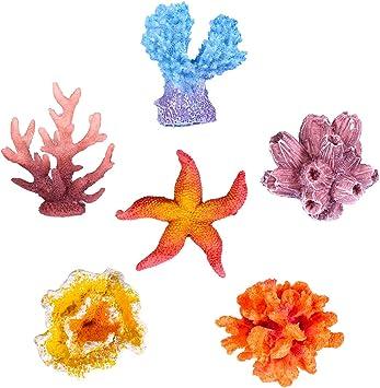 ornamento o decorazione per acquario Decorazioni multicolore per acquario di UEETEK stella marina artificiale 6 pezzi finto corallo nascondiglio