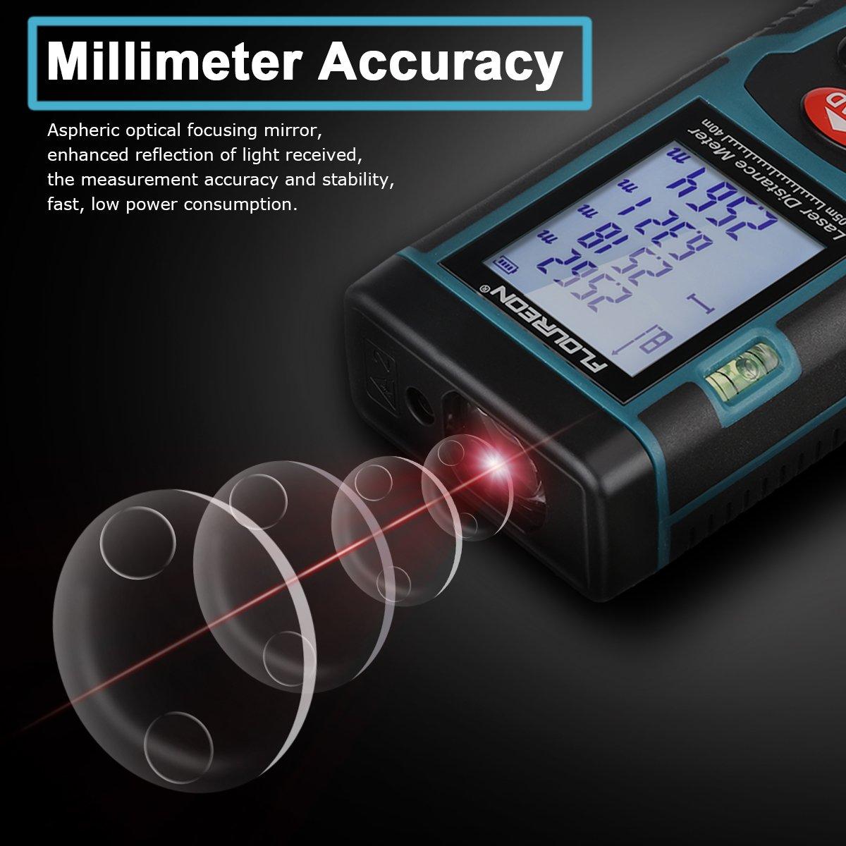 FLOUREON Télémètre Laser Professionnel Mesureur de Distance Laser de Haute Précision 0,05 à 40 M avec Précision de ± 2 MM Calcul de Surface et Volume Théorème de Pythagore et 2 Pils offert